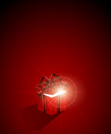 wizardry: Open magic Gift box on red background, illustration.
