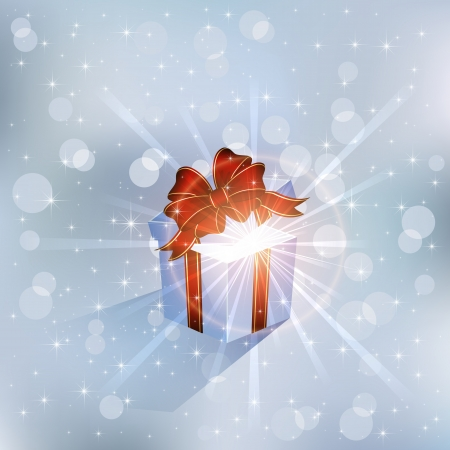 Open magic Gift box on blue background, illustration. Vector