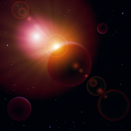 astronomic: Space background with planet and shining sun, illustration.