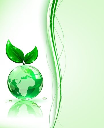 Shiny globe with leaves on green background, illustration. Stock Vector - 14288904