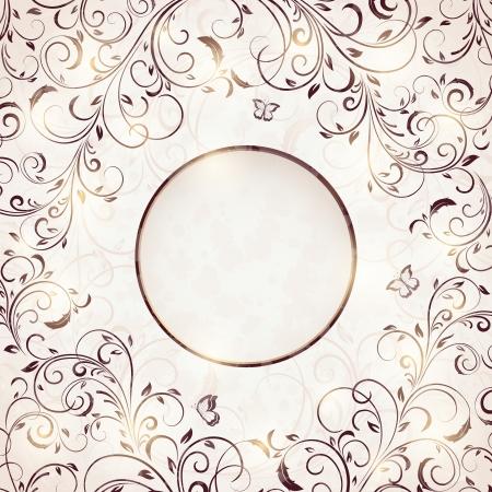 elegante: Ornamento floreale astratto con farfalla per la decorazione, illustrazione.