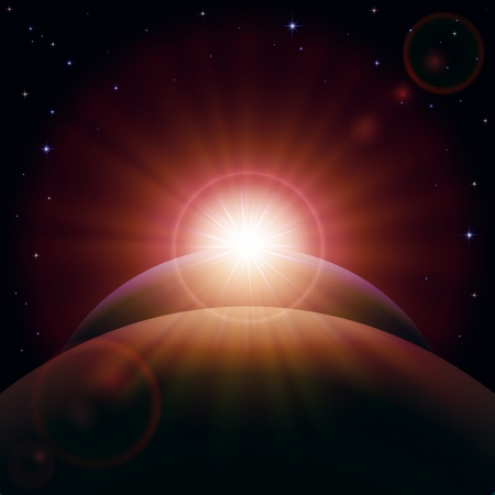 and shining: Space background with planet and shining sun, illustration.