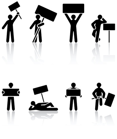 protest poster: Set of black Human icons on white background, illustration