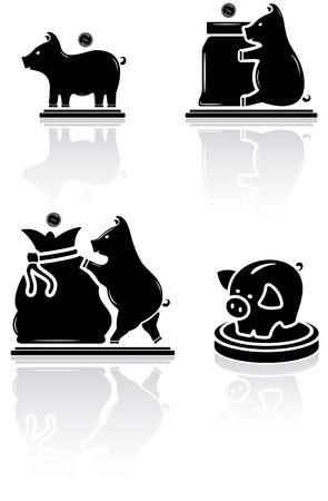 Set of black moneybox icons on white background, illustration