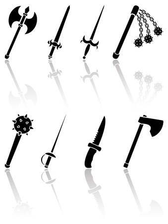 ax: Set of black ancient weapon icons on white background, illustration