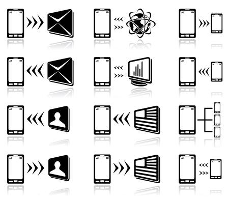rueda de prensa: Conjunto de iconos negros m�viles en el fondo blanco ilustraci�n, Vectores