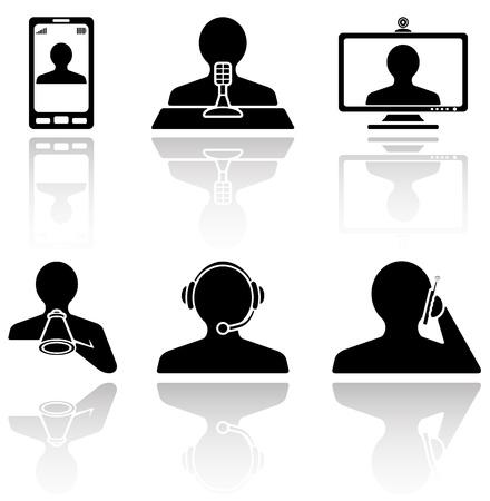 headset business: Set di icone di comunicazione nere su sfondo bianco, illustrazione Vettoriali