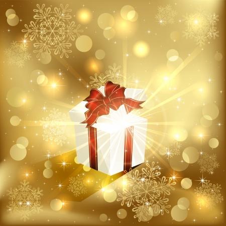 magic box: Open magic Gift box on golden background, illustration.