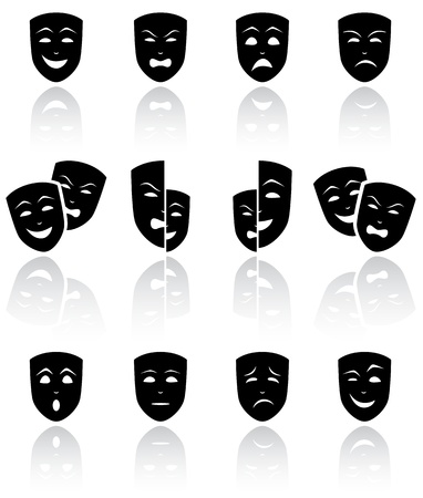 Juego de Máscaras de teatro negro sobre fondo blanco ilustración, Ilustración de vector