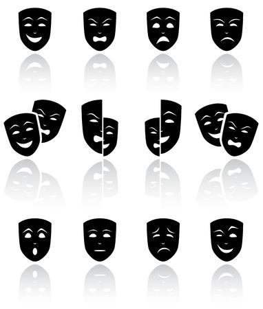 cara triste: Juego de M�scaras de teatro negro sobre fondo blanco ilustraci�n,