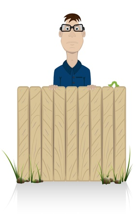 intruder: The suspicious person looks behind a fence, Illustration