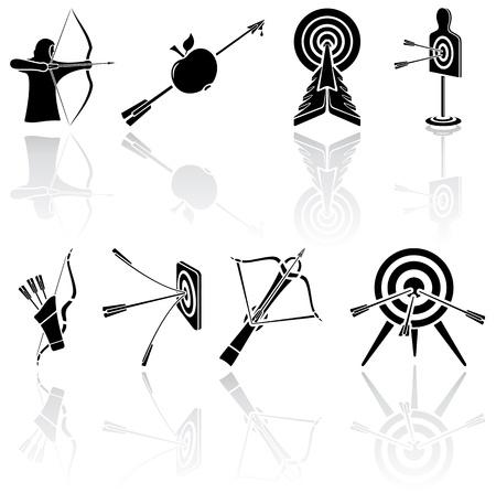 arco y flecha: Conjunto de iconos lazo negro sobre fondo blanco ilustración,