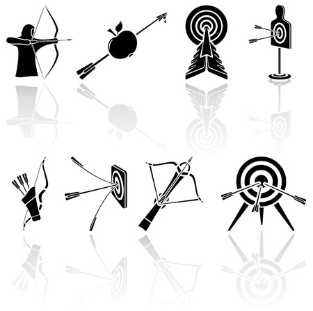 crossbow: Set of black Bow icons on white background, illustration