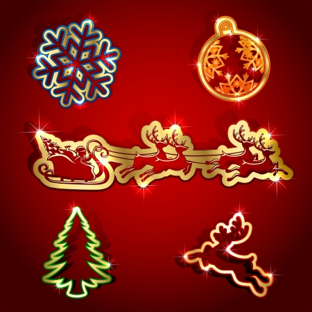 Gold paper Christmas icons, illustration. Vector