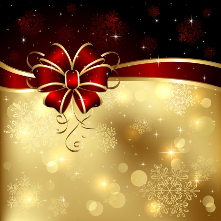 christmas backgrounds: Background with bow, stars and blurry light, illustration.