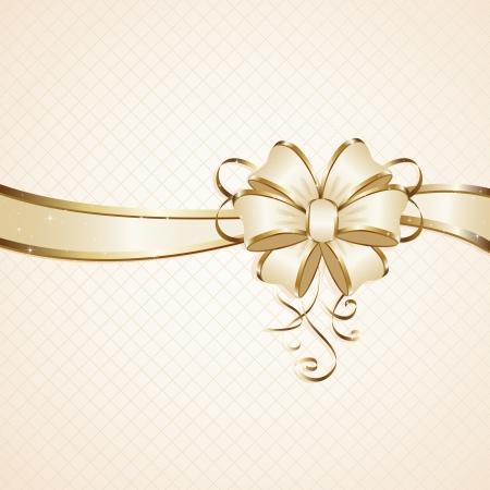 Gift bow on beige background, illustration Stock Vector - 15190158