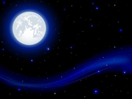 Fondo de la noche, brillando las estrellas y la luna en el cielo azul oscuro, ilustración Ilustración de vector
