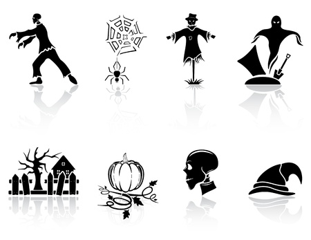 all caps: Set of black Halloween icons on white background, illustration