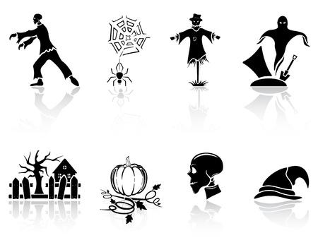 death cap: Set of black Halloween icons on white background, illustration