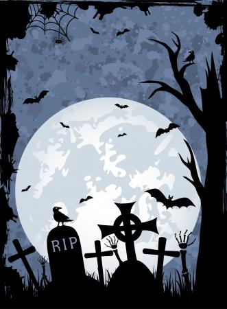 Grunge sfondo notte di Halloween, illustrazione
