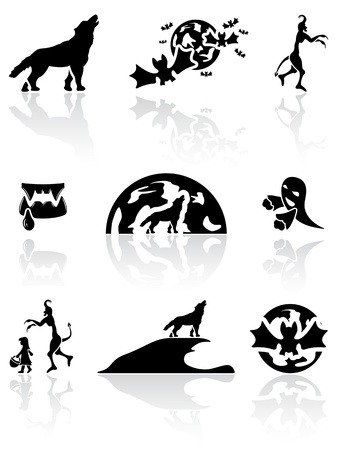 phantom: Set of black Halloween icons on white background, illustration