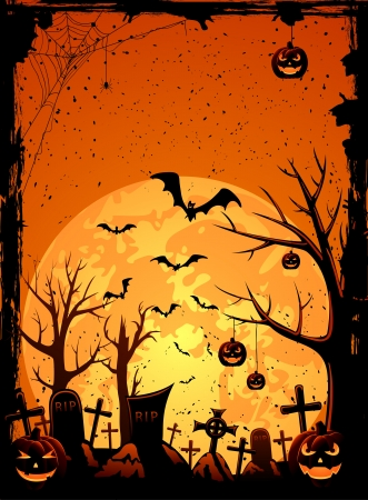 Grunge Halloween night background, illustration Stock Vector - 15218494