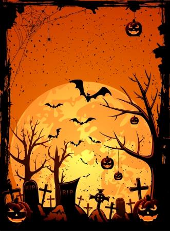 Grunge Halloween night background, illustration