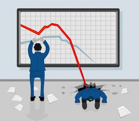hombre cayendose: Dos hombres y una disminución de los gráficos en una pizarra, ilustración.