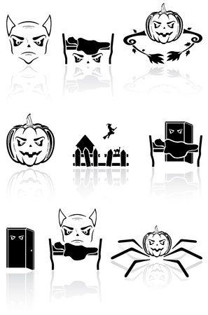 Set of black terrible icons on a white background, illustration Vector