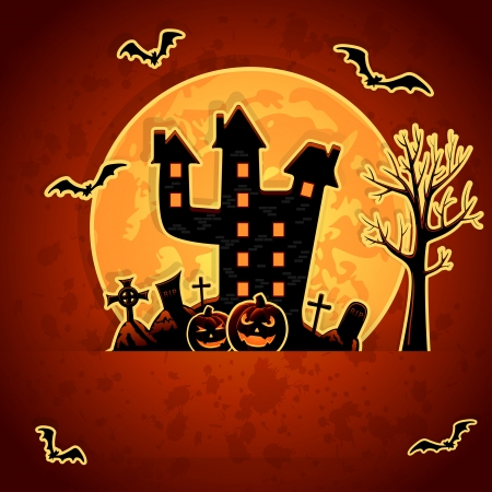 Grunge Halloween night background, illustration. Vector