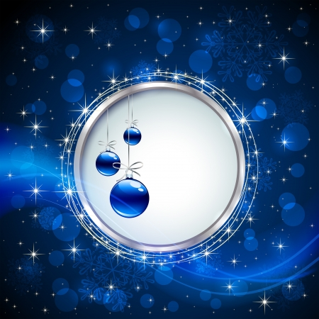 Blue shiny background with Christmas baubles, snowflakes, stars and blurry lights, illustration.