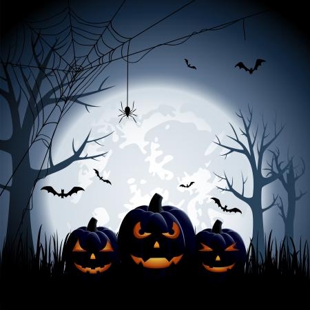 spider web background: Halloween night background with pumpkins, illustration