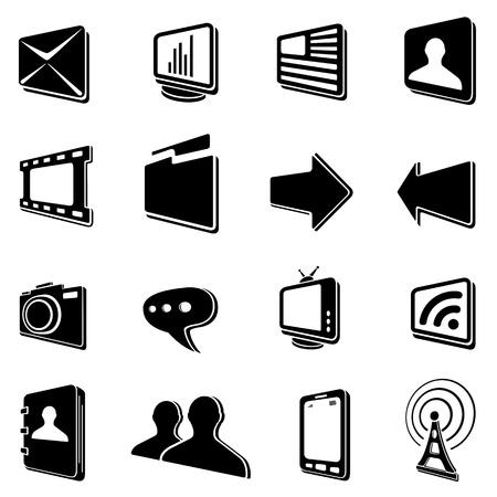 ellipsis: Set of black communication icons on a white background, illustration Illustration