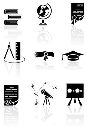 compasses: Set of black science icons on a white background, illustration Illustration