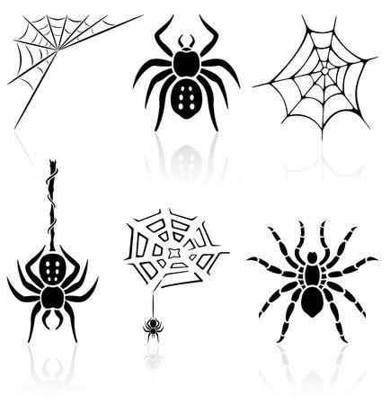 spider web: Set of black Halloween icons on white background, illustration