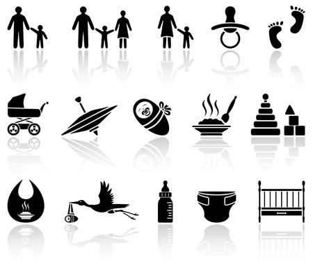 cicogna: Set di icone per bambini neri su sfondo bianco, illustrazione