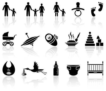 Set of black baby icons on white background, illustration Vector