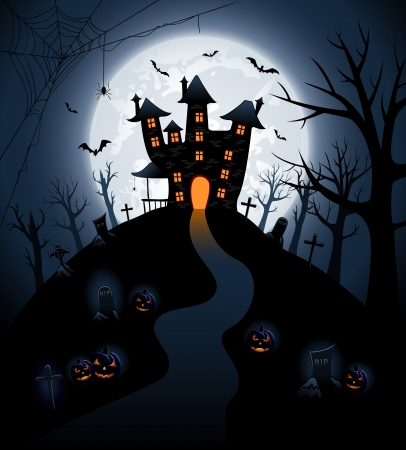 spider web background: Halloween night background with castle and pumpkins, illustration