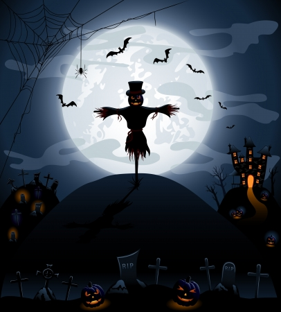 Halloween night background with castle and pumpkins Vector