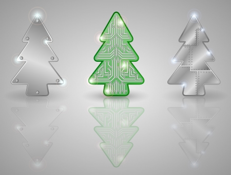 Set of Christmas trees on a gray background, illustration. Vector