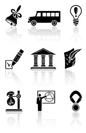 handbell: Set of black school icons on a white background, illustration Illustration