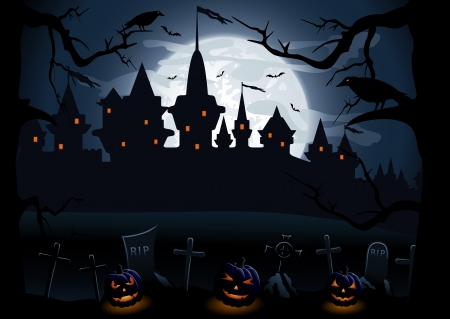 horror castle: Halloween night background with castle and pumpkins, illustration