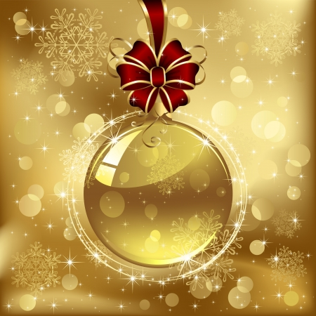lighting background: Background with Christmas ball and snowflakes, illustration.  Illustration