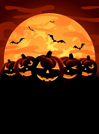 Halloween night background with pumpkins, illustration