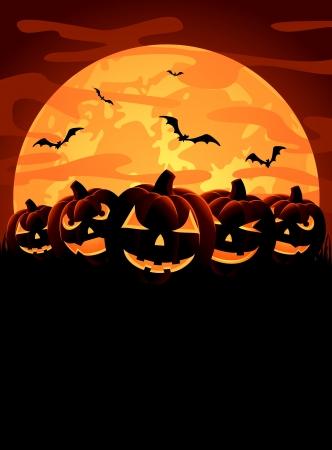 zucche halloween: Halloween notte sfondo con zucche, illustrazione Vettoriali