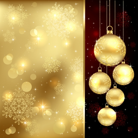 Background with Christmas baubles and snowflakes, illustration.  Vector