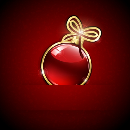 Red Christmas ball on grunge background, illustration. Vector