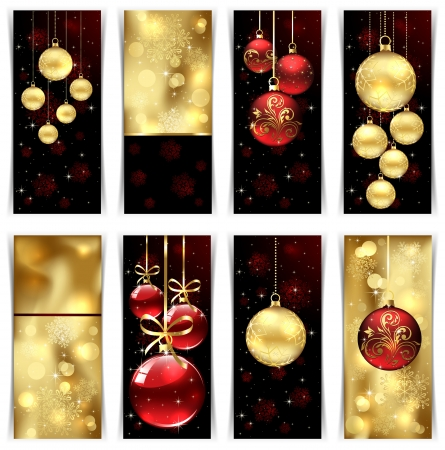 Christmas cards with baubles, illustration. Stock Vector - 15403338