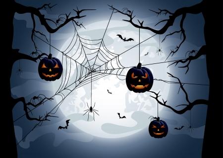 Scary Halloween night background, illustration Stock Vector - 15529024