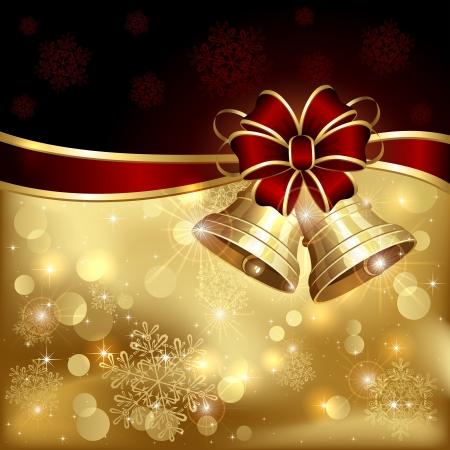 campanas navide�as: Fondo con las campanas de Navidad, el arco y copos de nieve, ilustraci�n.